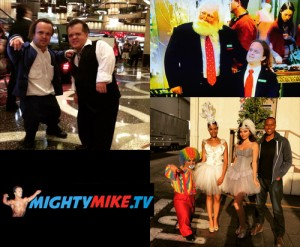 Another Round filming Paramount's Vh1 Hit The Floor Midget circus, HitTheFloorSeason3 mini Clown dwarf Act, little people performance series costume. Santa Clause with Midget Actor Mighty Mike Murga playing role of Dwarf Elf in A.N.T. Farm Disney Channel American Teen Sitcom.